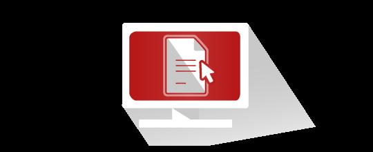 Curseur de souris passant sur un document numérique