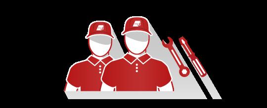 Personnel en uniforme rouge avec outils